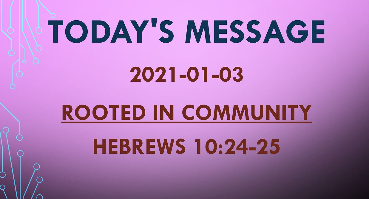 2021-01-03 – Hebrews 10:24-25 – Rooted in Community